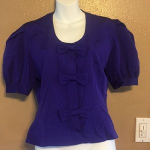 Albert Nipon purple silk blouse blouse, 8
